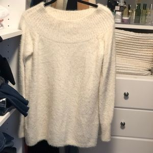Loft fuzzy white boatneck sweater